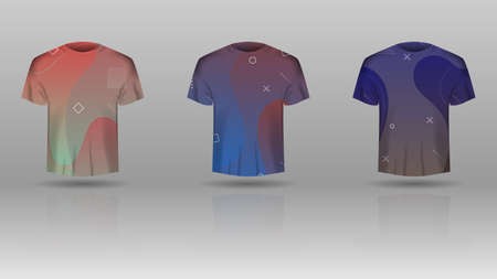 Set of men t-shirt with colorized vector template.