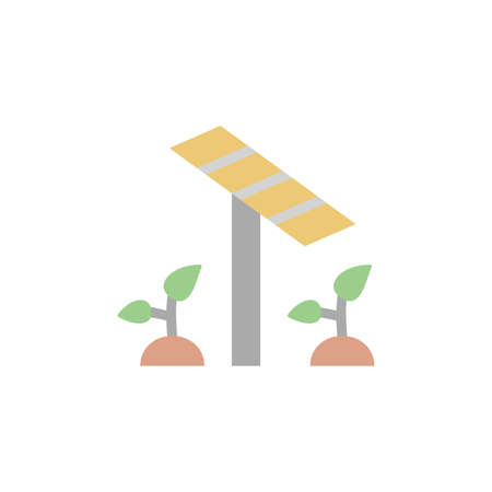 Solar panel, plants icon. Simple color vector elements of automated farming icons for ui and ux, website or mobile application Vettoriali