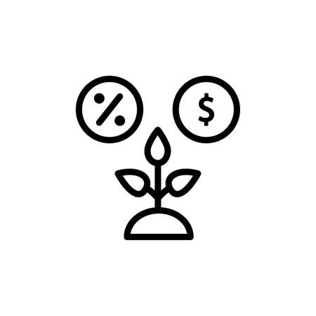 Productivity, per cent, dollar icon. Simple line, outline vector elements of automated farming icons for ui and ux, website or mobile application