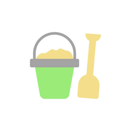 Sand, shovel, basket icon. Simple color vector elements of vacation icons for ui and ux, website or mobile application