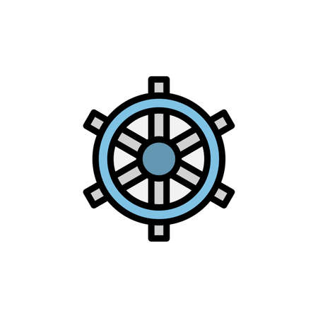 Ship steering wheel icon. Simple color with outline vector elements of vacation icons for ui and ux, website or mobile application