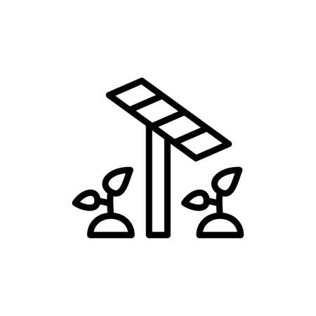 Solar panel, plants icon. Simple line, outline vector elements of automated farming icons for ui and ux, website or mobile application