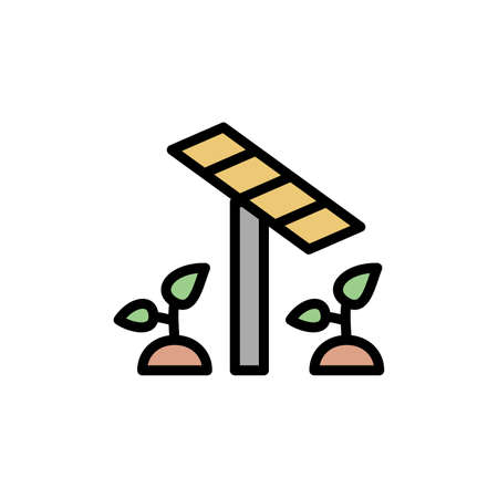 Solar panel, plants icon. Simple color with outline vector elements of automated farming icons for ui and ux, website or mobile application