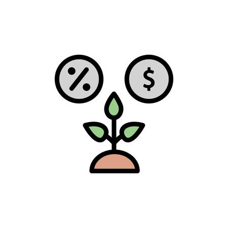 Productivity, per cent, dollar icon. Simple color with outline vector elements of automated farming icons for ui and ux, website or mobile application