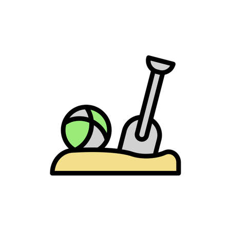 Ball, sand, shovel icon. Simple color with outline vector elements of vacation icons for ui and ux, website or mobile application