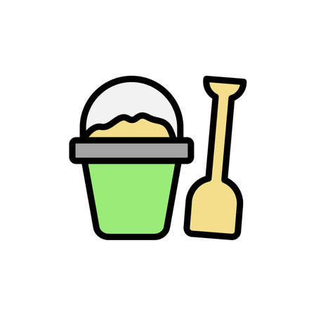 Sand, shovel, basket icon. Simple color with outline vector elements of vacation icons for ui and ux, website or mobile application