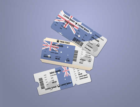 Modern design of Australia airline, bus and train travel boarding pass. Three tickets of Australia painted in flag color. Vector illustration isolated gradient background