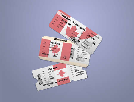 Modern design of Canada airline, bus and train travel boarding pass. Three tickets of Canada painted in flag color. Vector illustration isolated Illusztráció