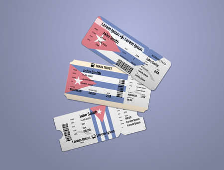 Modern design of Cuba airline, bus and train travel boarding pass. Three tickets of Cuba painted in flag color. Vector illustration isolated
