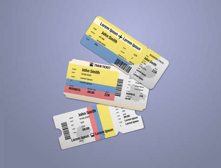 Modern design of Ecuador airline, bus and train travel boarding pass. Three tickets of Ecuador painted in flag color. Vector illustration isolated Illusztráció