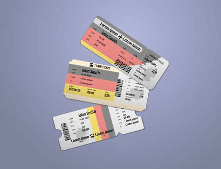 Modern design of Germany airline, bus and train travel boarding pass. Three tickets of Germany painted in flag color. Vector illustration isolated