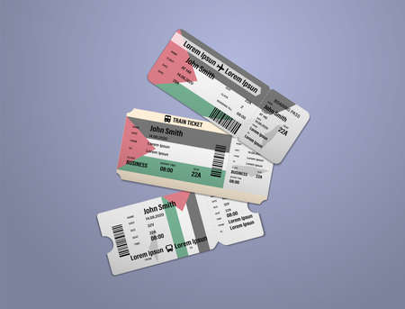 Modern design of Palestine airline, bus and train travel boarding pass. Three tickets of Palestine painted in flag color. Vector illustration isolated