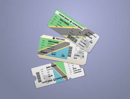 Modern design of Tanzania airline, bus and train travel boarding pass. Three tickets of Tanzania painted in flag color. Vector illustration isolated