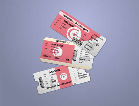 Modern design of Tunisia airline, bus and train travel boarding pass. Three tickets of Tunisia painted in flag color. Vector illustration isolated
