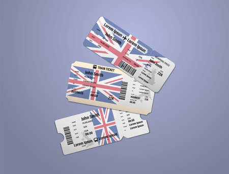 Modern design of UK airline, bus and train travel boarding pass. Three tickets of UK painted in flag color. Vector illustration isolated Illusztráció