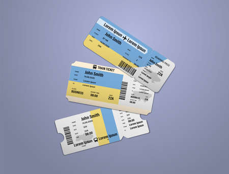 Modern design of Ukraine airline, bus and train travel boarding pass. Three tickets of Ukraine painted in flag color. Vector illustration isolated