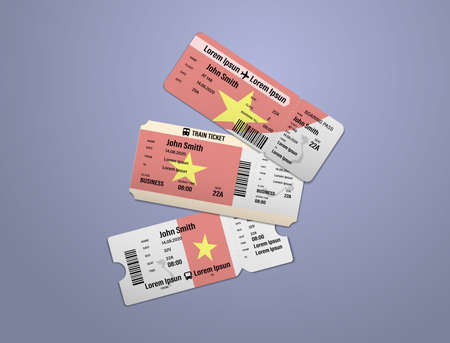 Modern design of Vietnam airline, bus and train travel boarding pass. Three tickets of Vietnam painted in flag color. Vector illustration isolated Illusztráció