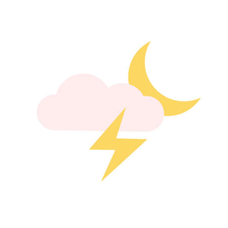 Cloud, moon, lightning, snow icon. Simple color vector elements of forecast icons for ui and ux, website or mobile application Vettoriali