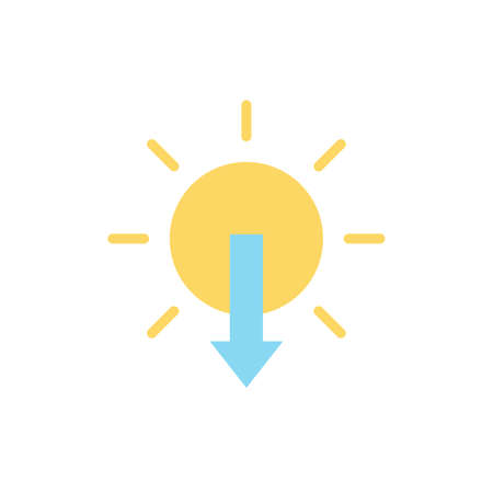 Sun, arrow, sunset icon. Simple color vector elements of forecast icons for ui and ux, website or mobile application Vettoriali