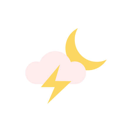 Cloud, lightning, moon icon. Simple color vector elements of forecast icons for ui and ux, website or mobile application