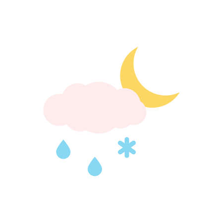 Cloud, rain, snow, moon icon. Simple color vector elements of forecast icons for ui and ux, website or mobile application