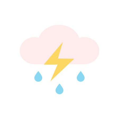 Cloud, rain, lightning icon. Simple color vector elements of forecast icons for ui and ux, website or mobile application
