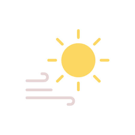 Sun, wind icon. Simple color vector elements of forecast icons for ui and ux, website or mobile application