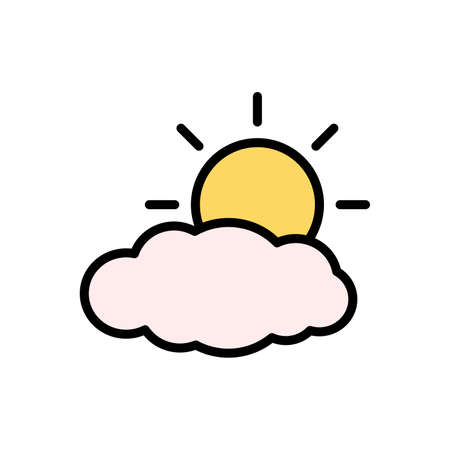 Cloud, sun icon. Simple color with outline vector elements of forecast icons for ui and ux, website or mobile application