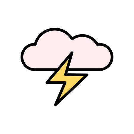 Cloud, lightning icon. Simple color with outline vector elements of forecast icons for ui and ux, website or mobile application Vettoriali