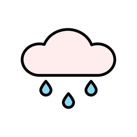 Cloud, rain icon. Simple color with outline vector elements of forecast icons for ui and ux, website or mobile application Vettoriali