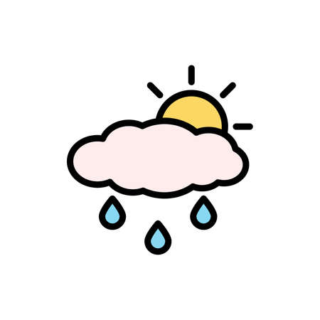 Cloud, rain, sun icon. Simple color with outline vector elements of forecast icons for ui and ux, website or mobile application