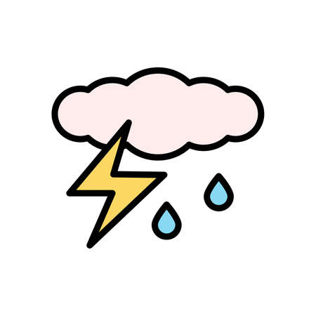 Cloud, rain, lightning icon. Simple color with outline vector elements of forecast icons for ui and ux, website or mobile application Vettoriali