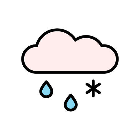 Cloud, rain, snow icon. Simple color with outline vector elements of forecast icons for ui and ux, website or mobile application Vettoriali