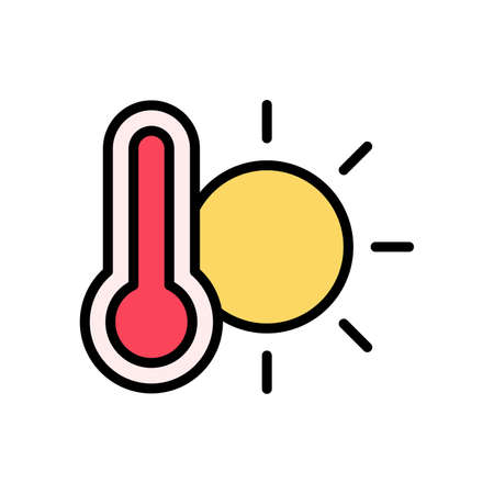 Sun, thermometer icon. Simple color with outline vector elements of forecast icons for ui and ux, website or mobile application