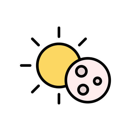 Sun, moon icon. Simple color with outline vector elements of forecast icons for ui and ux, website or mobile application Vettoriali