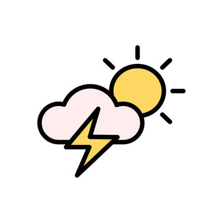 Cloud, sun, lightning icon. Simple color with outline vector elements of forecast icons for ui and ux, website or mobile application