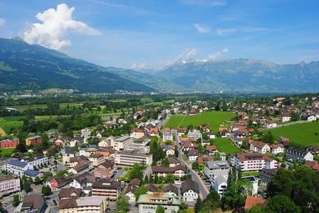 VADUZ, LIECHTENSTEIN - JULY 9, 2013. View over Vaduz, Liechtenstein from the castle.