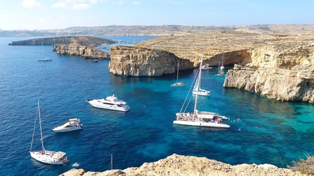 The Crystal Lagoon on Comino island in Malta. Reklamní fotografie