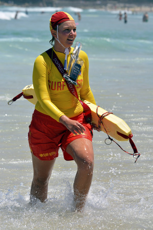 december 25: Bondi, Australia - December 25, 2015 Surf lifesaver at Bondi Beach Editorial