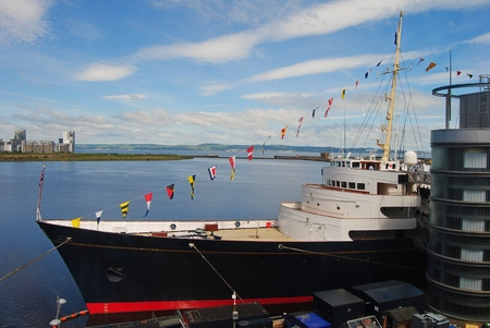 britannia: Edinburgh, United Kingdom - June 16, 2014. The former Royal Yacht Britannia in Edinburgh.