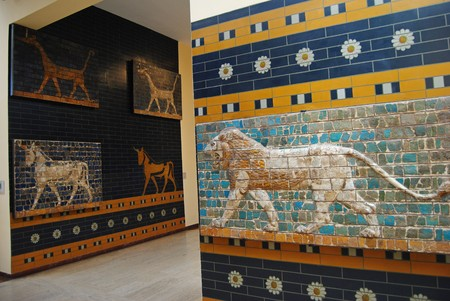 ishtar: Istanbul, Turkey - May 6, 2011. Glazed panels depicting animals from the processional street and Ishtar gate of ancient Babylon at the Istanbul Archaeology Museum. Editorial