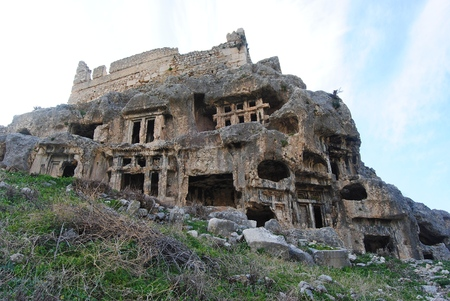 Rock tombs of Tlos ancient city in Turkey. Stok Fotoğraf - 116632467