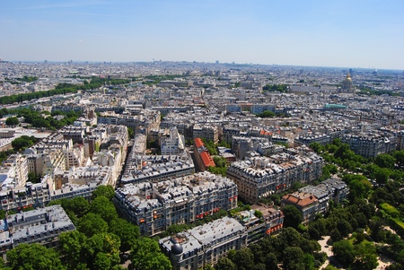 pres: View from the Eiffel Tower towards St-Germain in Paris, France.
