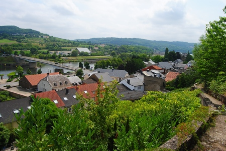 View over Schengen town in Luxembourg, in summer.
