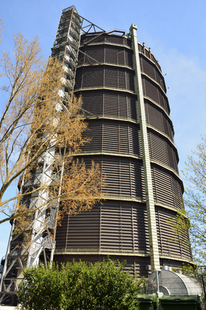 Oberhausen, Germany - April 21, 2016. Gasometer Oberhausen once stored gas to power blast furnaces. It has now been converted into one of most exciting and popular art and exhibit spaces in Germany. Editorial