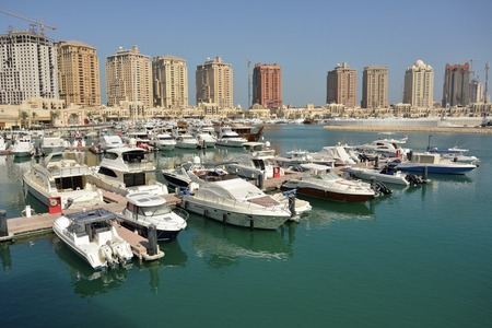 Harbour view in the Pearl precinct of Doha, Qatar. Stock Photo