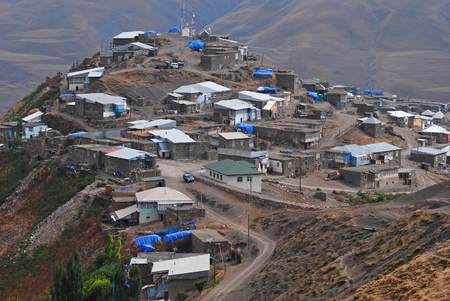 azeri: View of the Xinaliq village.