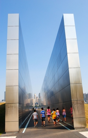 Empty Sky: September 11th Memorial in Jersey City. Editorial