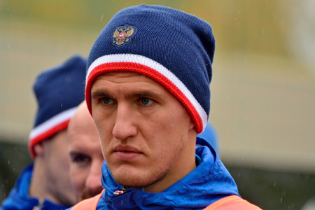Moscow, Russia - October 5, 2017.  Russian defender Viktor Vasin in training session before test match against South Korea in Moscow. Editorial