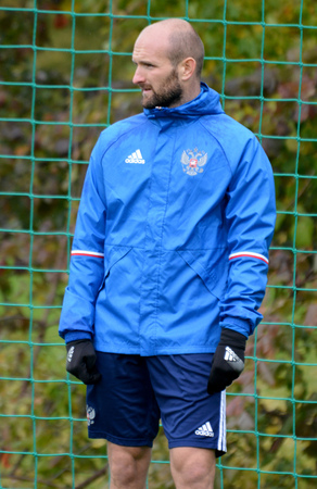 Moscow, Russia - October 5, 2017. Russian international football midfielder Konstantin Rausch in training session before test match against South Korea in Moscow.